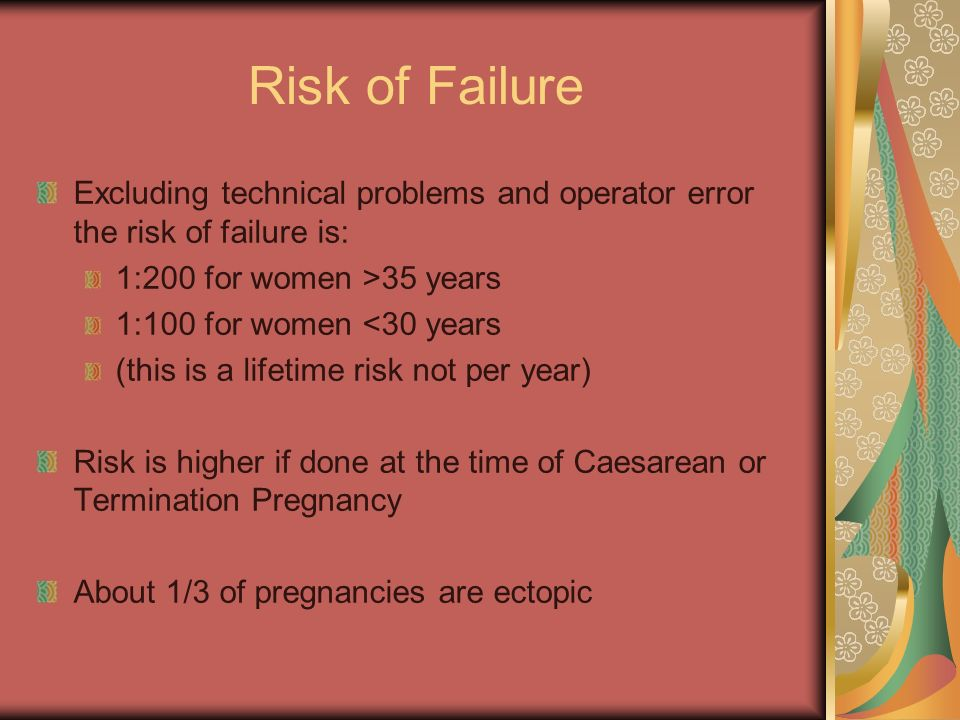 Risk of Failure Excluding technical problems and operator error the risk of failure is: 1:200 for women >35 years.