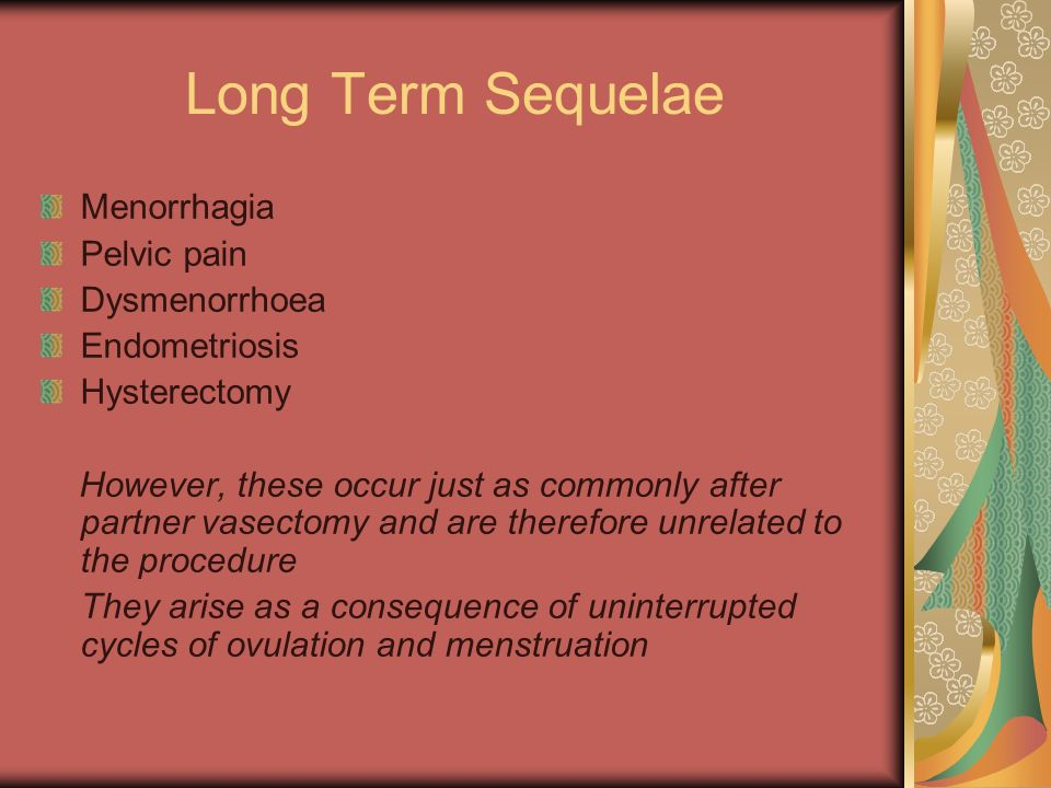 Long Term Sequelae Menorrhagia Pelvic pain Dysmenorrhoea Endometriosis