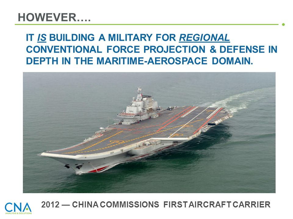 2012 — CHINA COMMISSIONS FIRST AIRCRAFT CARRIER