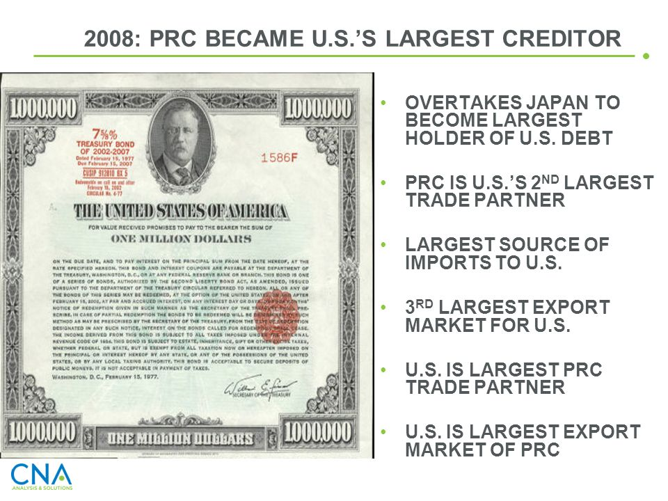 2008: PRC BECAME U.S.'S LARGEST CREDITOR