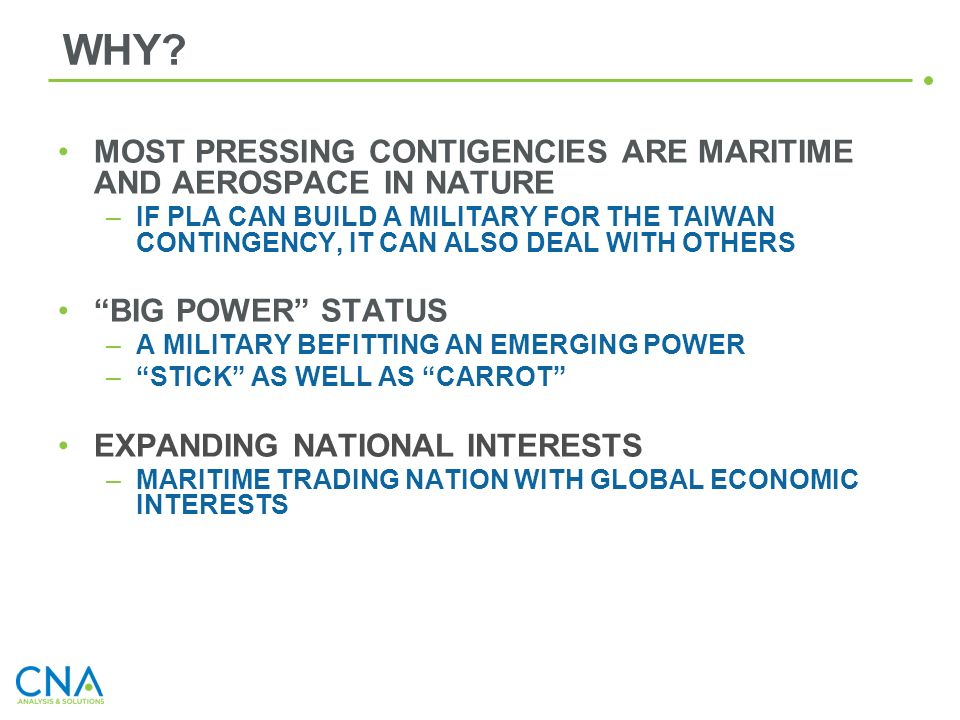 WHY MOST PRESSING CONTIGENCIES ARE MARITIME AND AEROSPACE IN NATURE