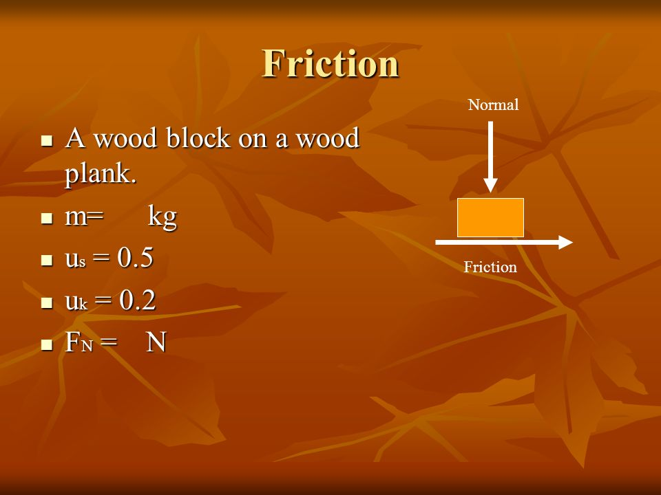 review friction and m s A block of mass 136 kg is sliding at an initial velocity of 465 m/s along a horizontal surface to the right the surface has a coefficient of friction of 0254 how far will the block slide.