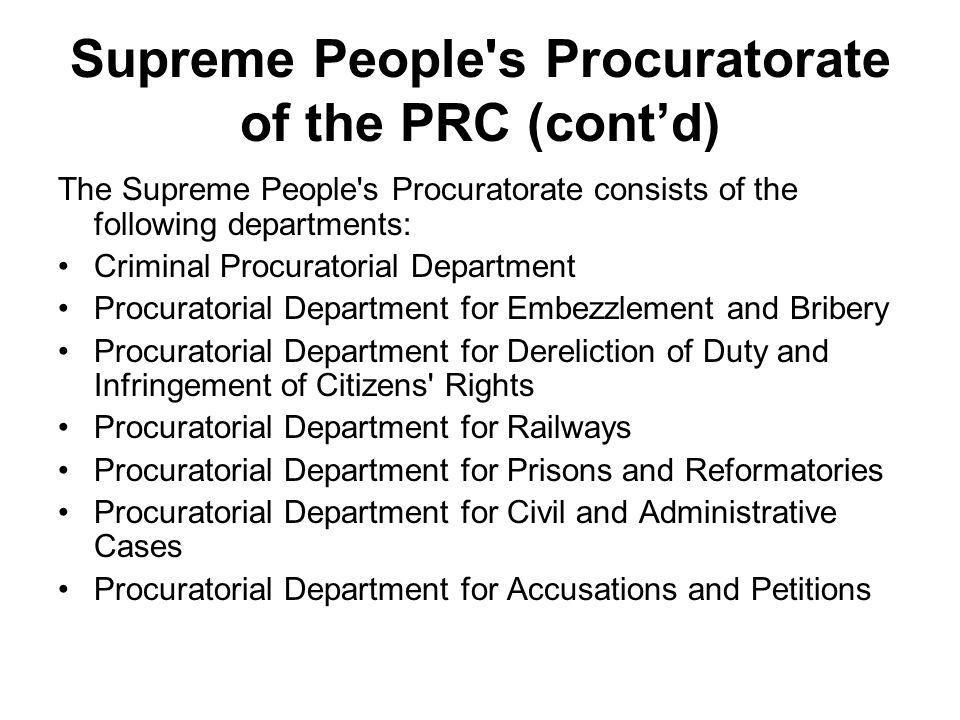 Supreme People s Procuratorate of the PRC (cont'd)