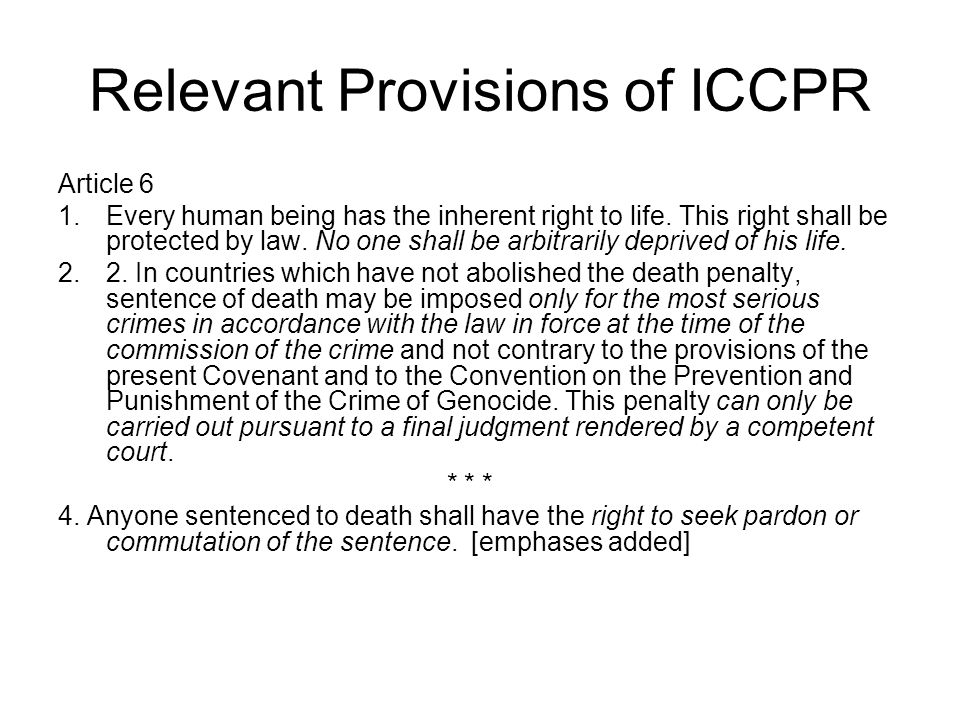 Relevant Provisions of ICCPR