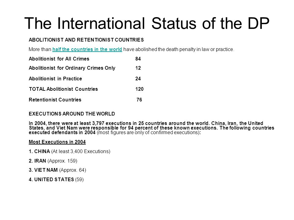 The International Status of the DP