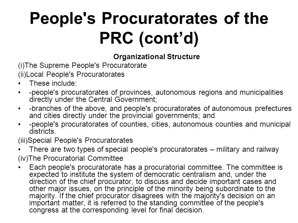 People s Procuratorates of the PRC (cont'd)