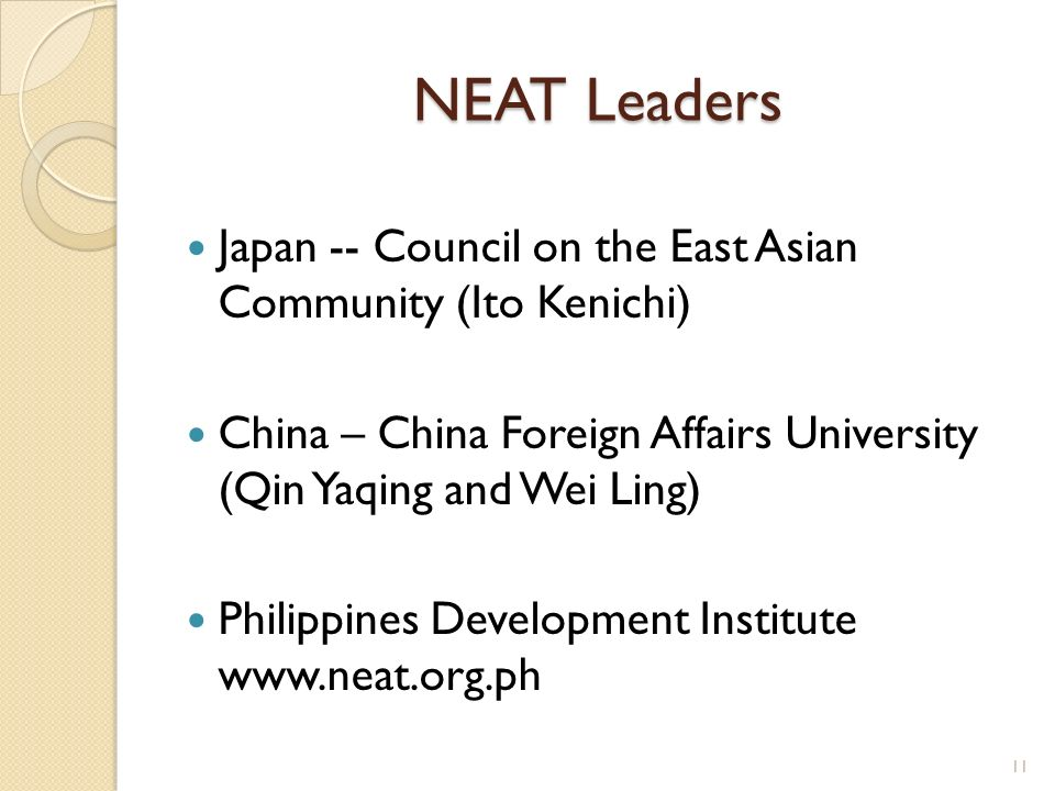 NEAT Leaders Japan -- Council on the East Asian Community (Ito Kenichi) China – China Foreign Affairs University (Qin Yaqing and Wei Ling)