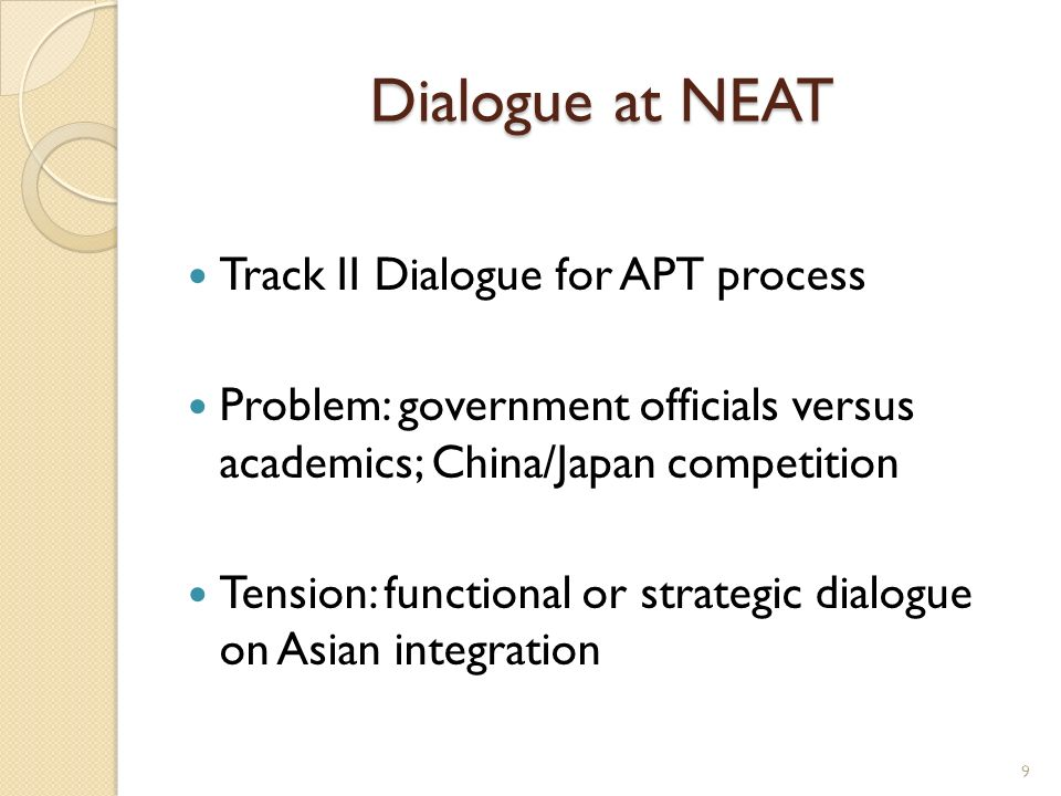 Dialogue at NEAT Track II Dialogue for APT process