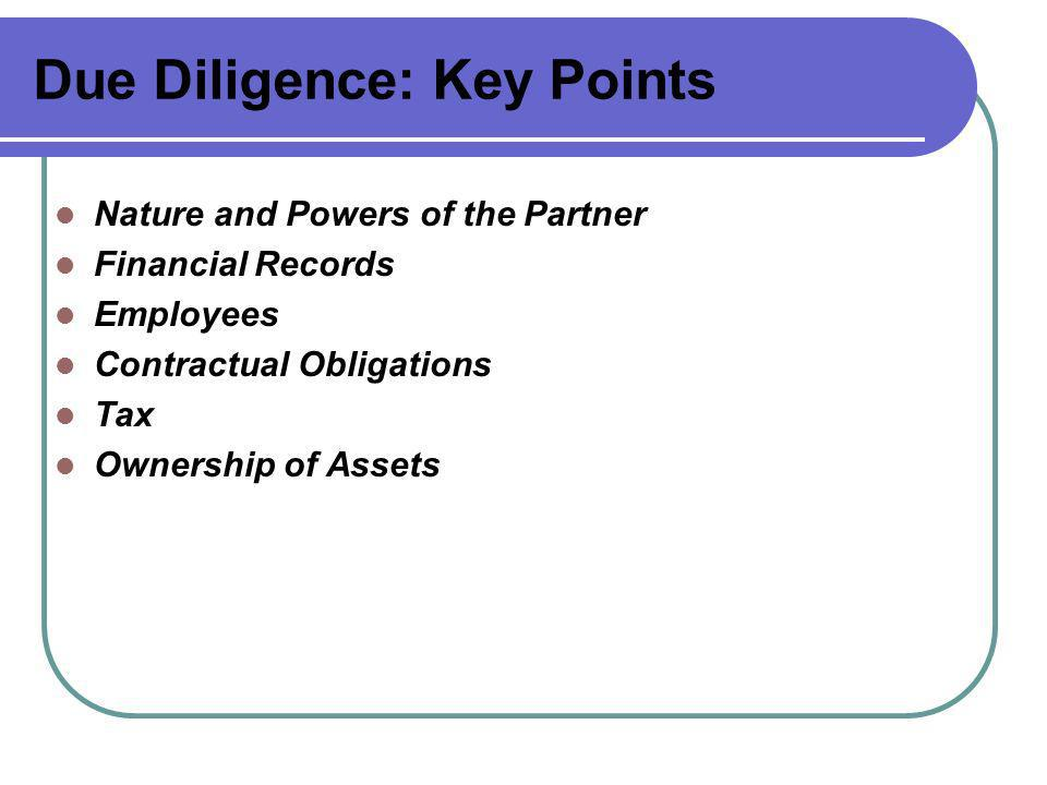 Due Diligence: Key Points