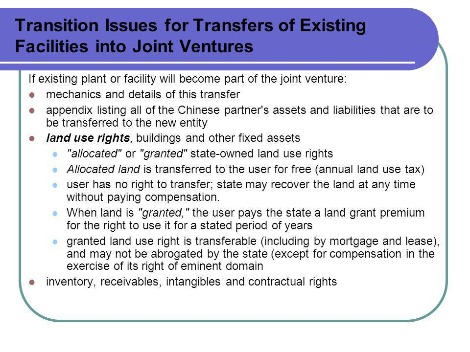 Transition Issues for Transfers of Existing Facilities into Joint Ventures