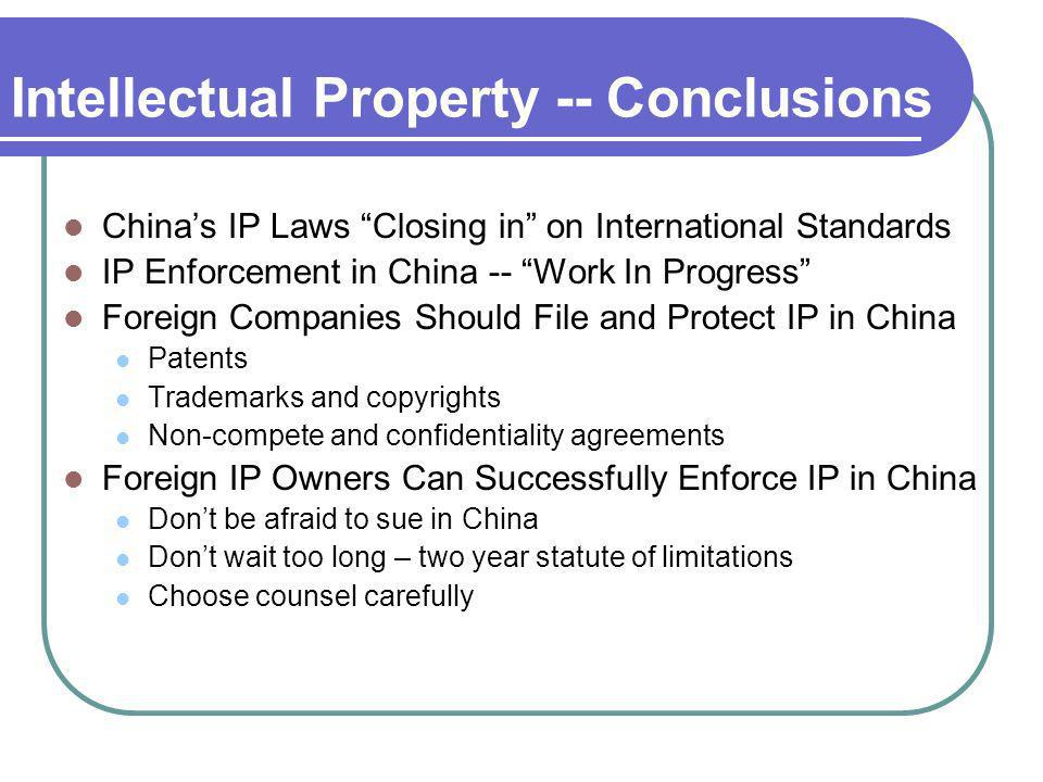 Intellectual Property -- Conclusions