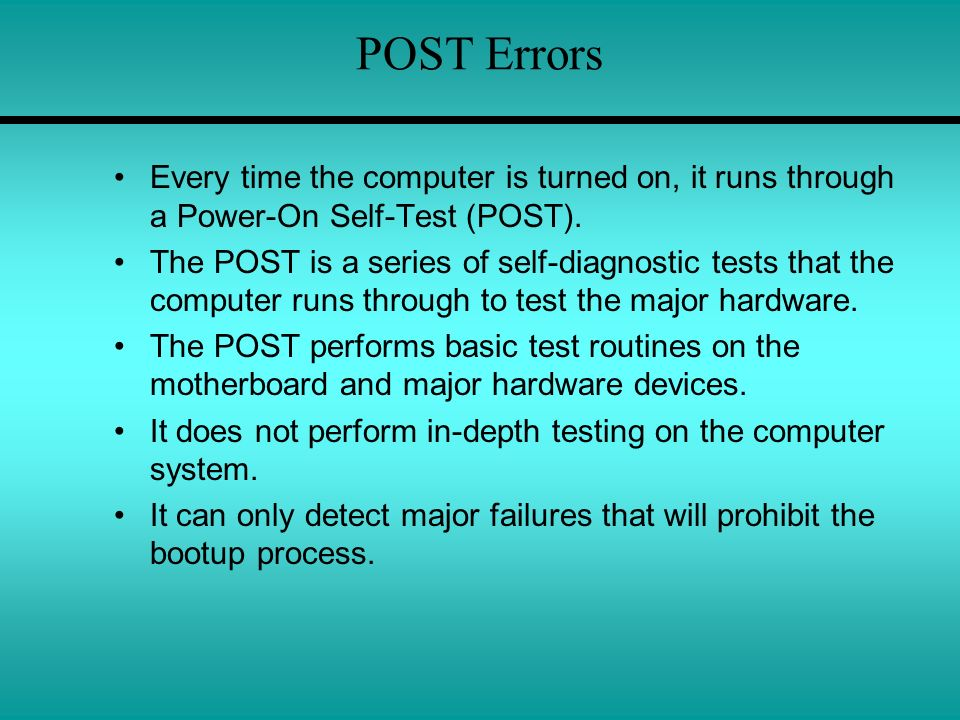 the power on self test process when the system is powered on When you turn on a pc, the bios first conduct a basic hardware check, called a power-on self test (post), to determine whether all of the attachments are present and working then it loads the operating system into your computer's random access memory, or ram.