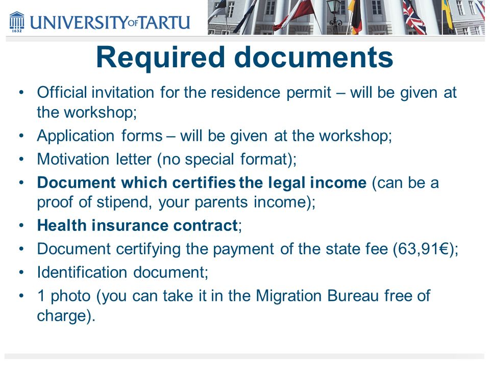 Residence permits for non eu citizens ppt video online download required documents official invitation for the residence permit will be given at the workshop altavistaventures Gallery