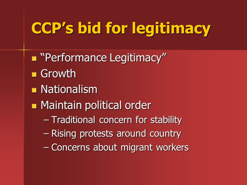 CCP's bid for legitimacy