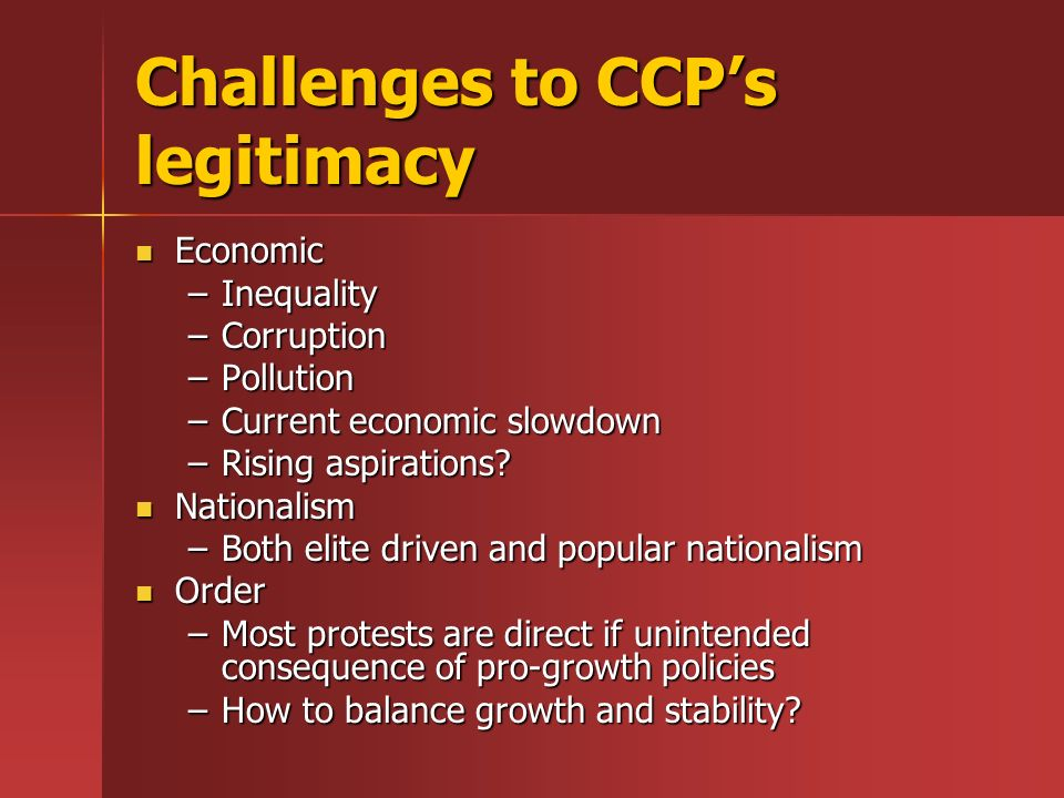 Challenges to CCP's legitimacy