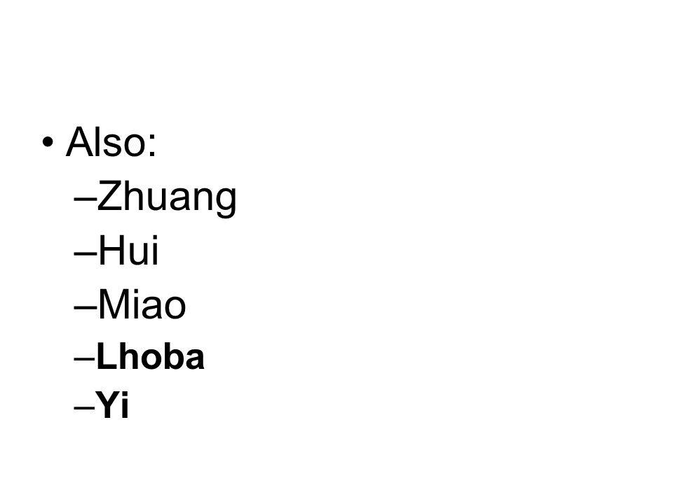 Also: Zhuang Hui Miao Lhoba Yi