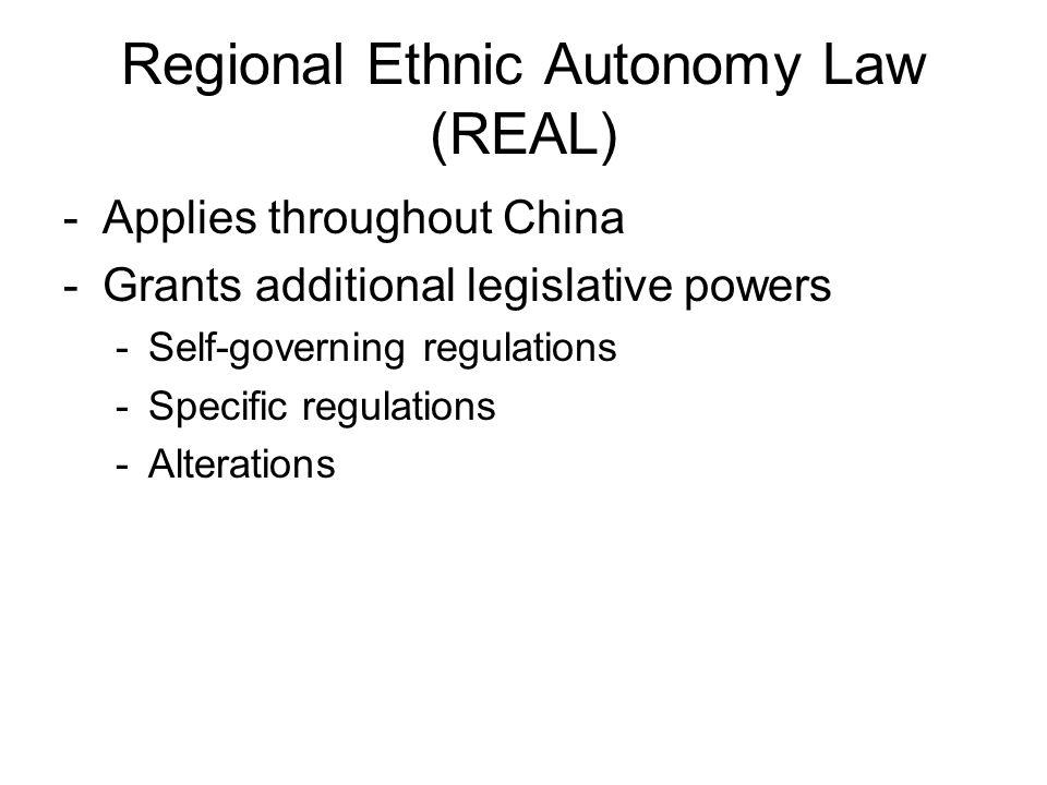 Regional Ethnic Autonomy Law (REAL)