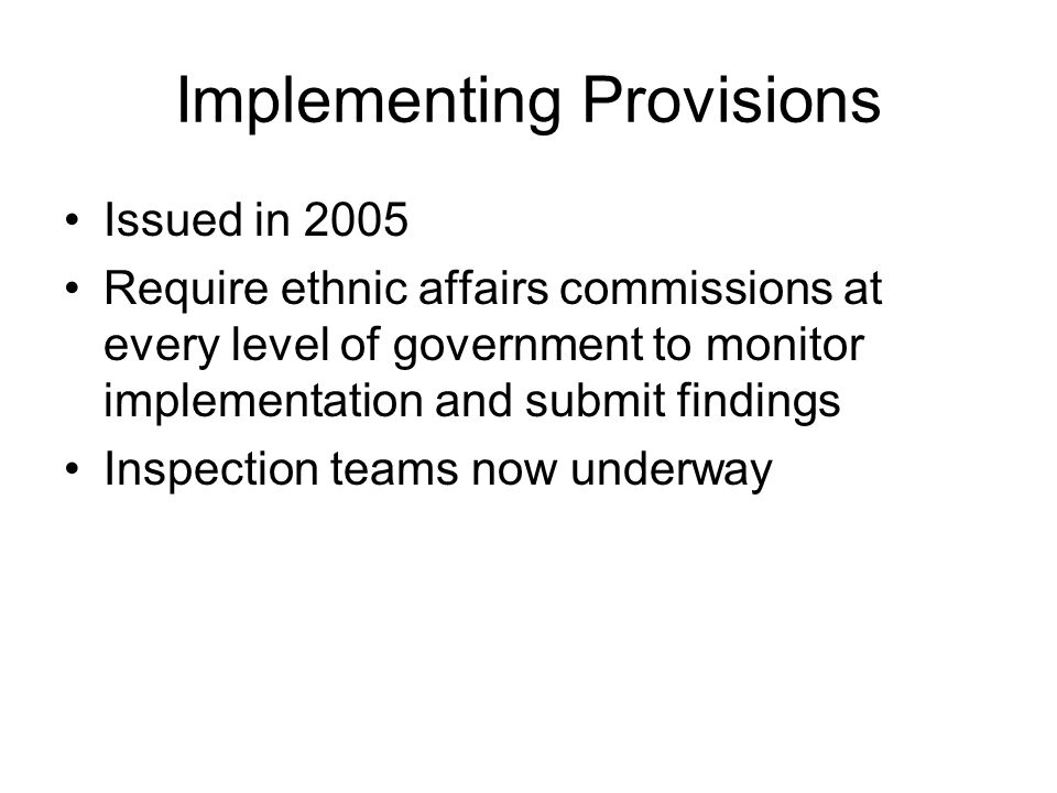 Implementing Provisions