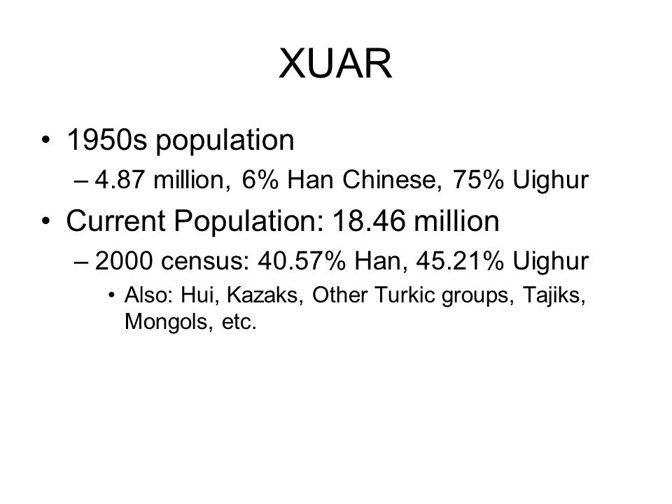 XUAR 1950s population Current Population: 18.46 million