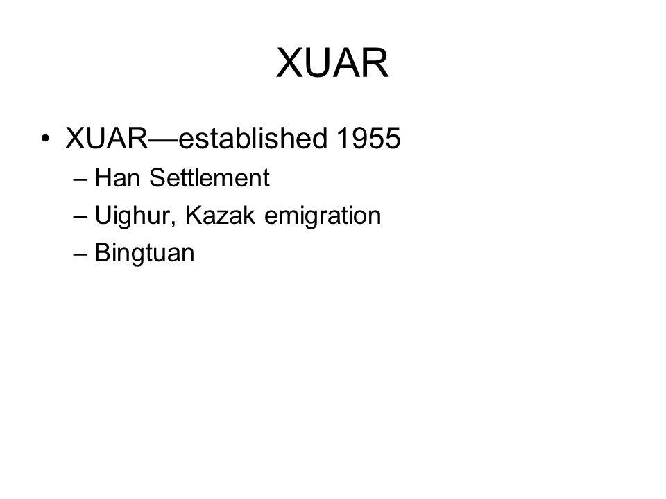 XUAR XUAR—established 1955 Han Settlement Uighur, Kazak emigration