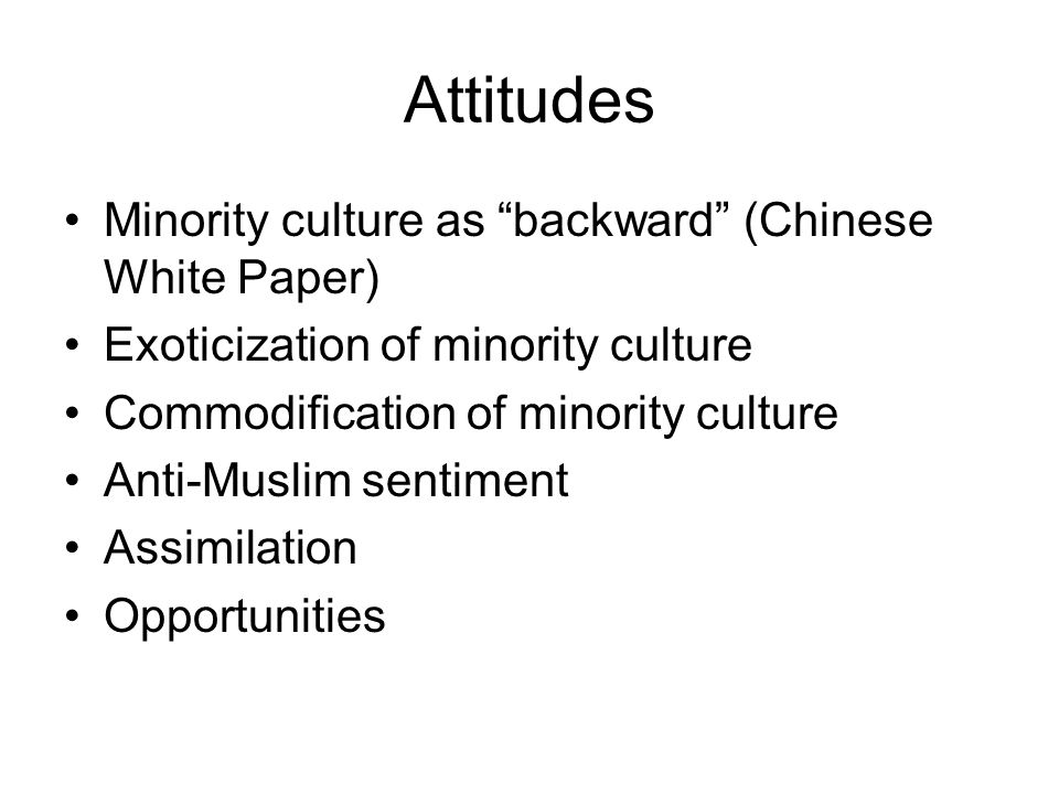 Attitudes Minority culture as backward (Chinese White Paper)