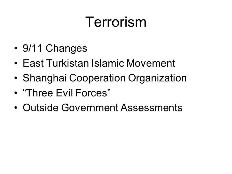 Terrorism 9/11 Changes East Turkistan Islamic Movement