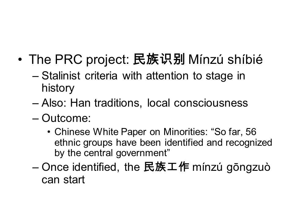The PRC project: 民族识别 Mínzú shíbié