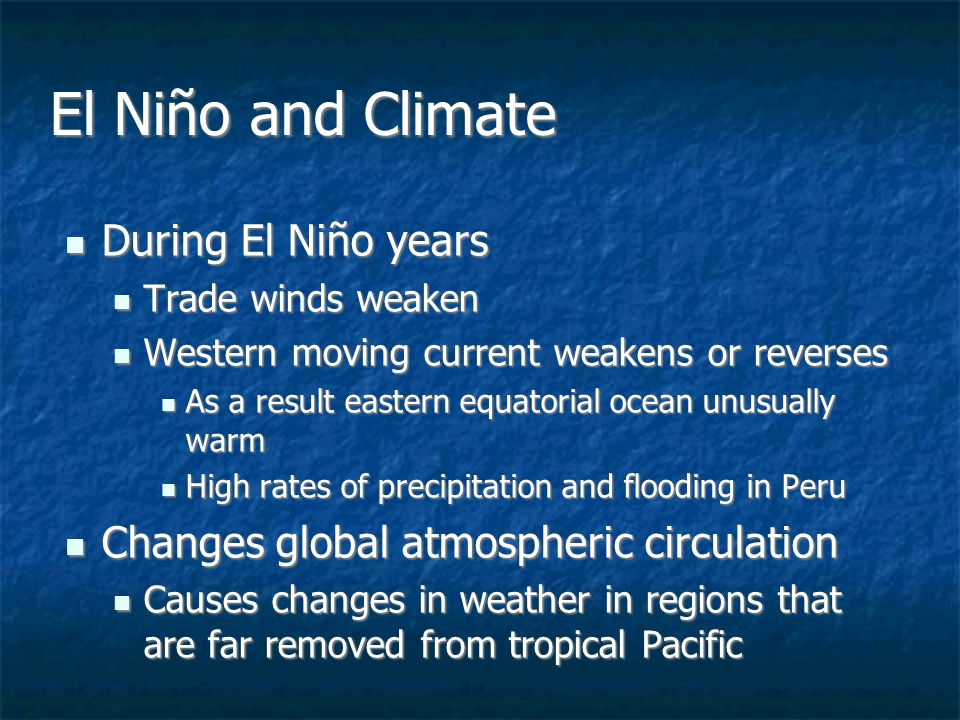 the problem of el nino and the biological changes that occur