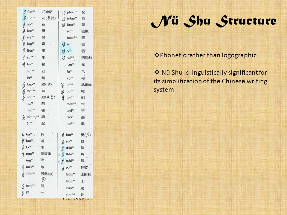 Nü Shu Structure Phonetic rather than logographic