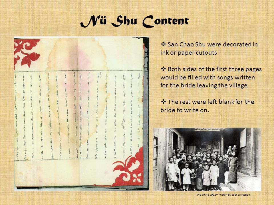 Nü Shu Content San Chao Shu were decorated in ink or paper cutouts