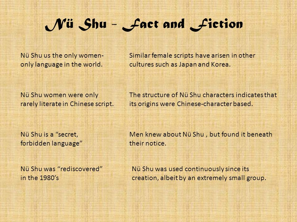Nü Shu - Fact and Fiction