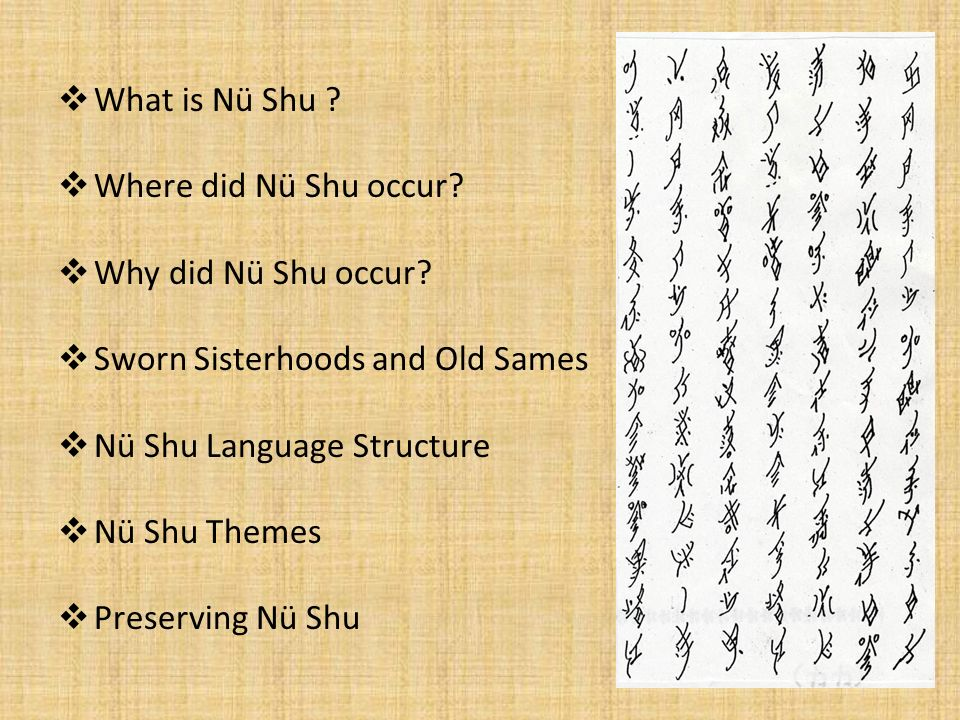 What is Nü Shu Where did Nü Shu occur Why did Nü Shu occur Sworn Sisterhoods and Old Sames. Nü Shu Language Structure.
