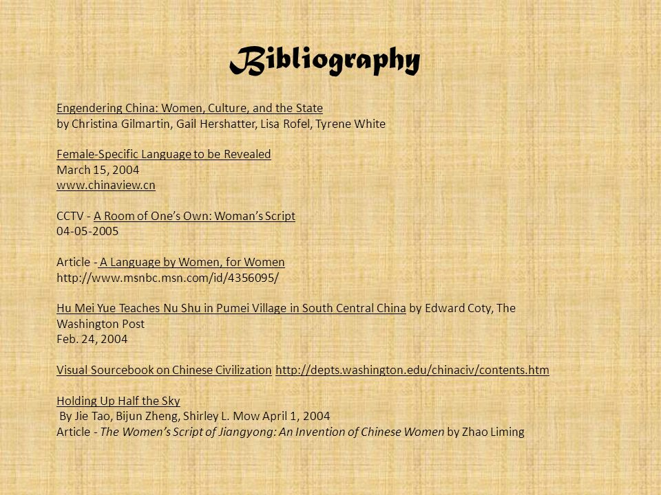 Bibliography Engendering China: Women, Culture, and the State
