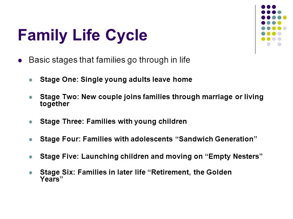 Family Life Cycle Basic stages that families go through in life