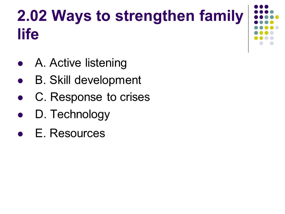 2.02 Ways to strengthen family life