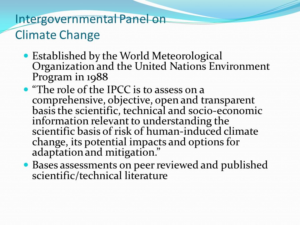 intergovernmental panel on climate change and In recent decades, changes in climate have caused impacts japan, by the united nations' intergovernmental panel on climate change (ipcc), the world's most comprehensive climate change report ever created.