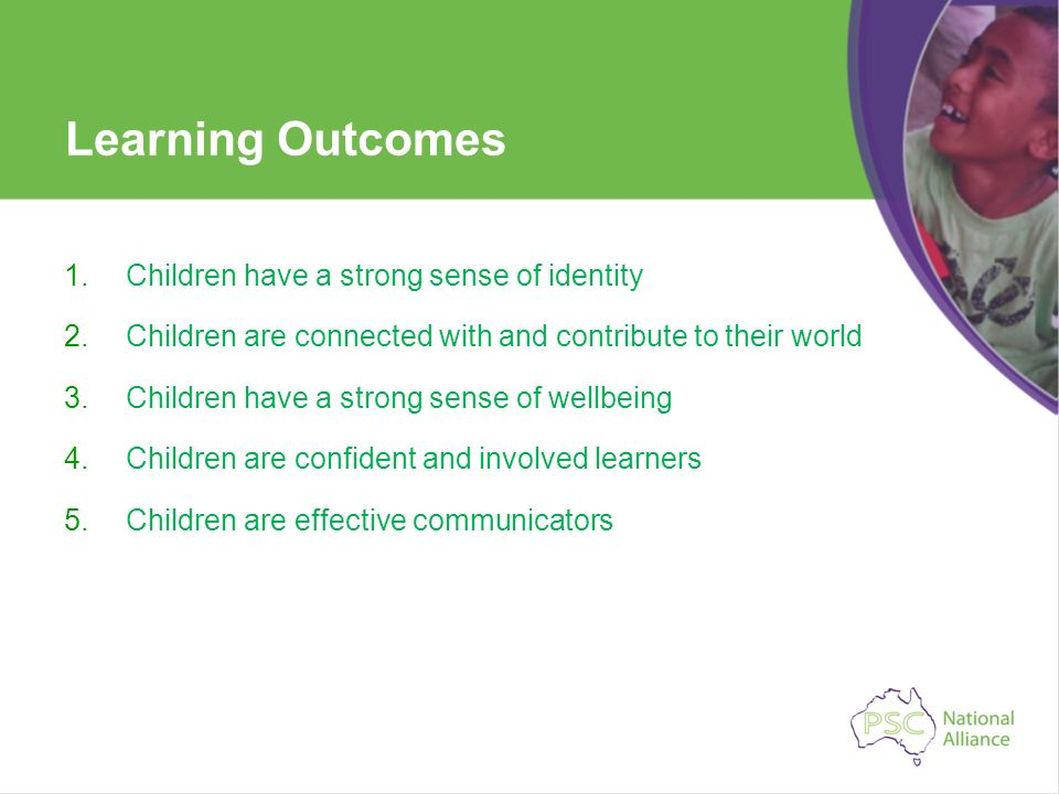 Learning Outcomes Children have a strong sense of identity
