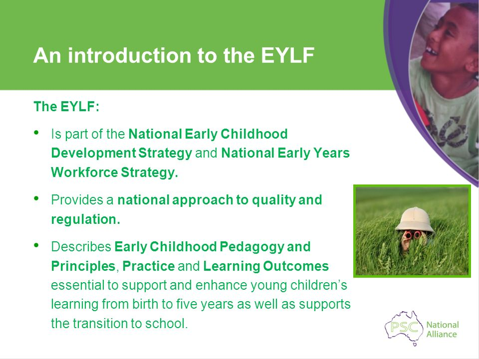 An introduction to the EYLF