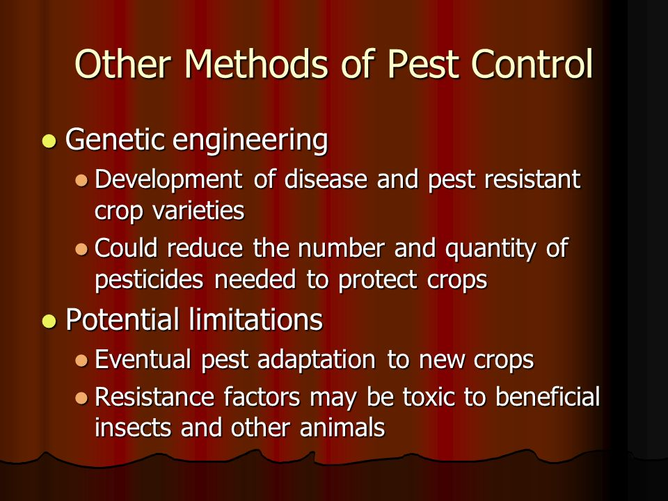 the methods of controlling the pest population Mathematical modelling to control a pest population by another important method for pest control is we investigate the problem to control pest population by.