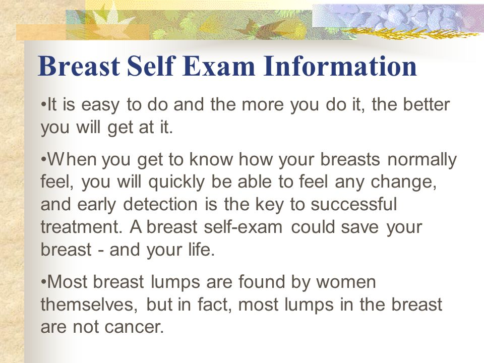 Breast Self Exam Information
