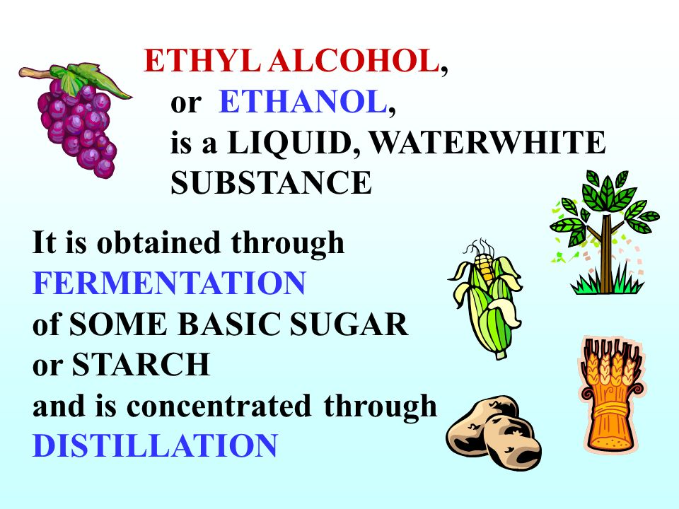 ETHYL ALCOHOL, or ETHANOL, is a LIQUID, WATERWHITE SUBSTANCE