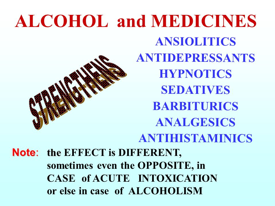 ALCOHOL and MEDICINES ANSIOLITICS ANTIDEPRESSANTS HYPNOTICS SEDATIVES BARBITURICS ANALGESICS ANTIHISTAMINICS.