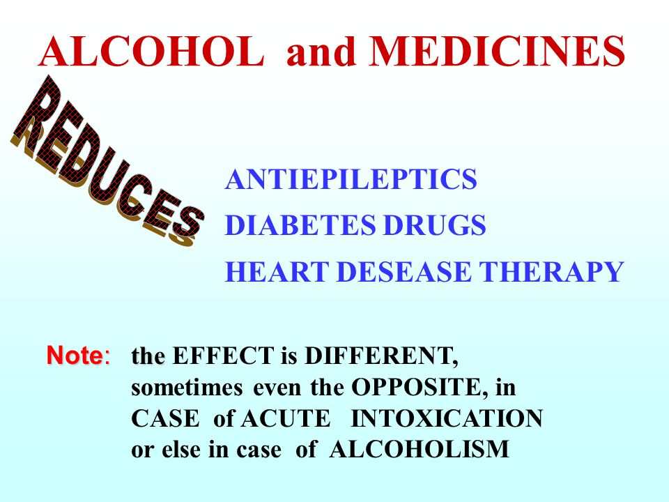 ALCOHOL and MEDICINES REDUCES. ANTIEPILEPTICS DIABETES DRUGS HEART DESEASE THERAPY.
