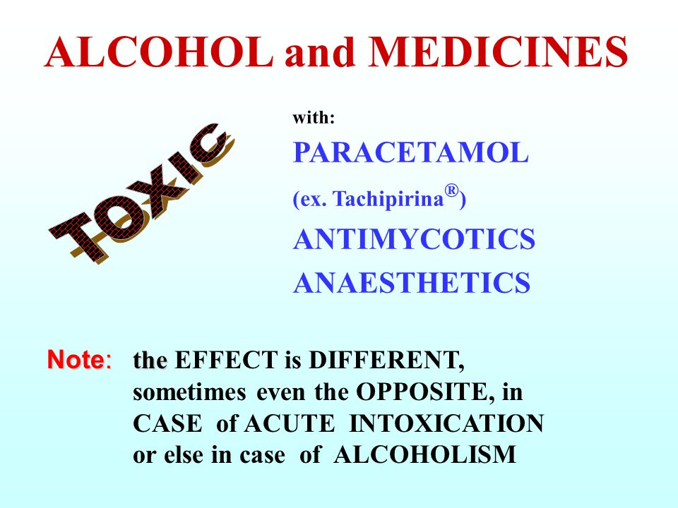 ALCOHOL and MEDICINES