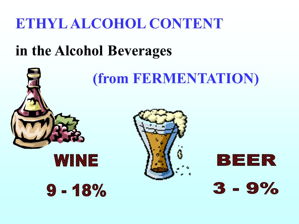ETHYL ALCOHOL CONTENT in the Alcohol Beverages (from FERMENTATION) WINE 9 - 18% BEER 3 - 9%