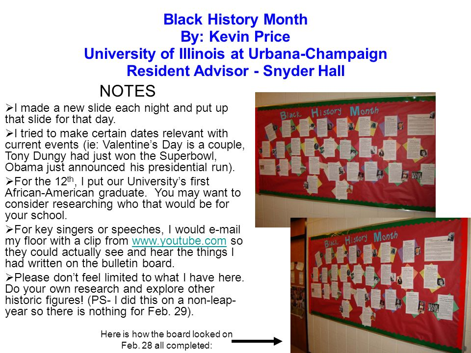 NOTES Black History Month By: Kevin Price