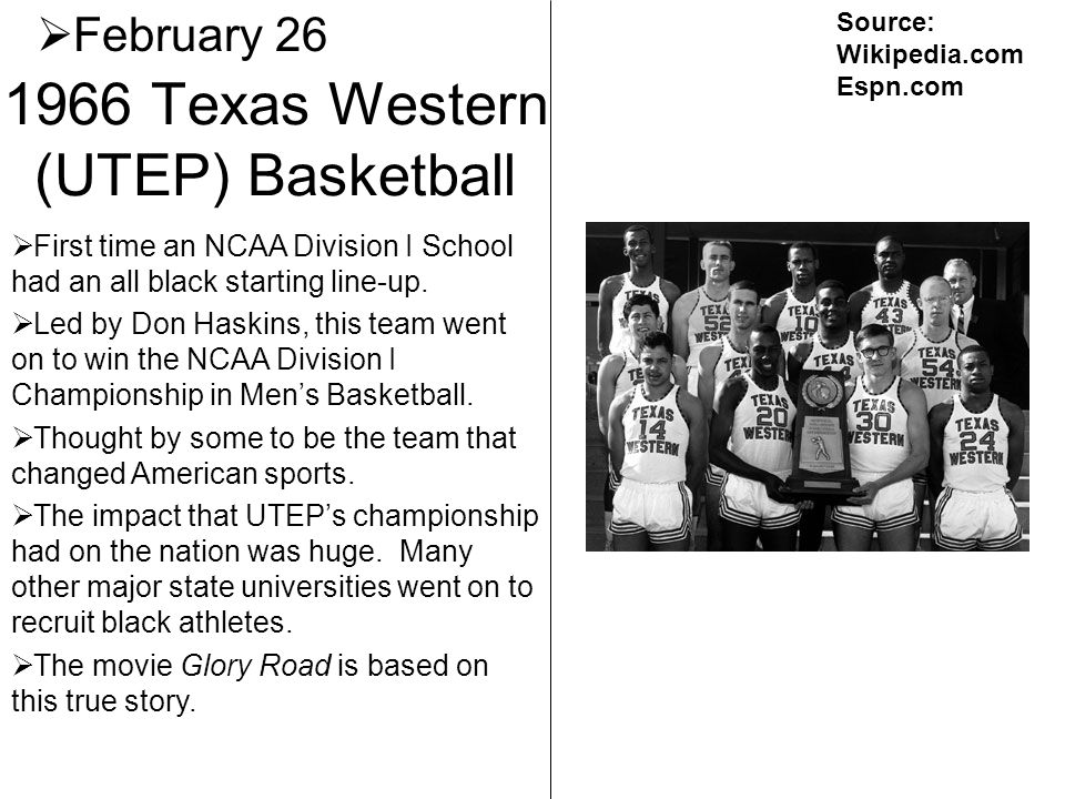 1966 Texas Western (UTEP) Basketball