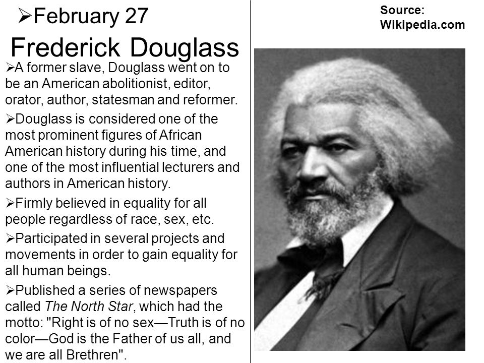 Frederick Douglass February 27