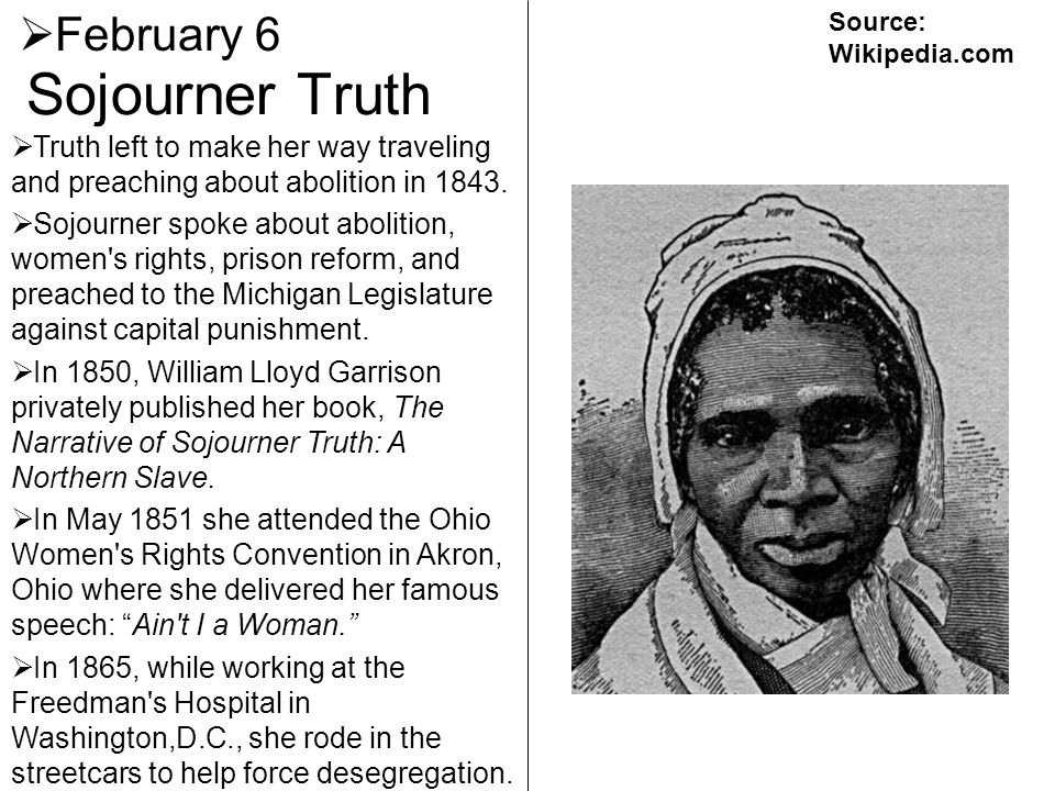 Sojourner Truth February 6