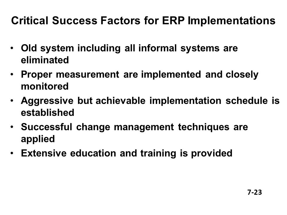 critical factors for successful erp implementation Critical success factors for implementation of erp projects by student k satish of nus singapore.